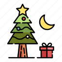 christmas, christmas tree, decoration, gift box, pine, tree, xmas icon