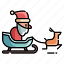 christmas, santa, santa sled, sleigh, snow sled, winter, xmas icon