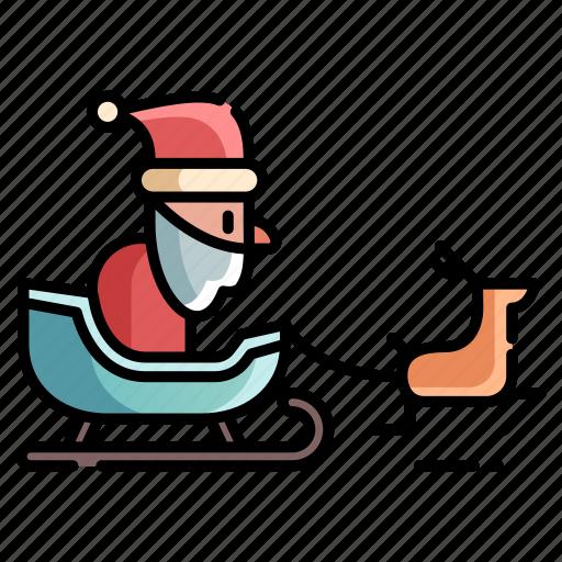 christmas, santa, santa sled, sleigh, snow sled, winter, xmas icon