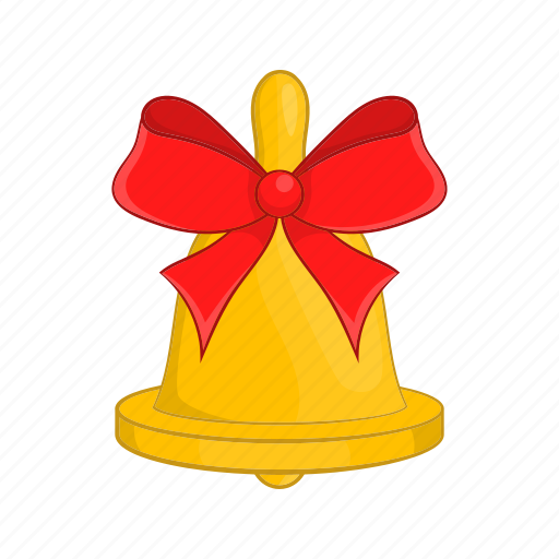 bell, bow, cartoon, gold, red, style, tinsel icon