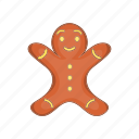 cartoon, christmas, food, gingerbread, man, style, xmas icon