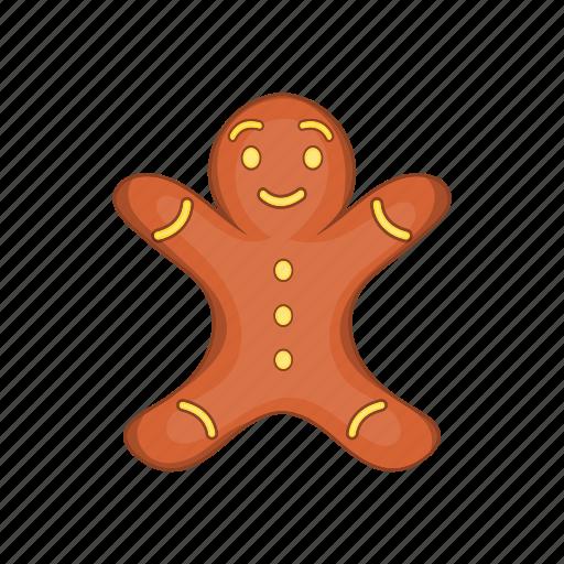 cartoon, christmas, food, gingerbread, man, style, xmas icon