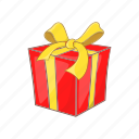 bow, box, cartoon, gift, present, ribbon, style