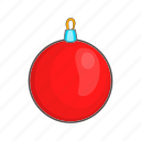 ball, cartoon, christmas, decoration, holiday, red, style icon