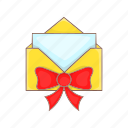 bow, cartoon, envelope, gift, red, ribbon, style