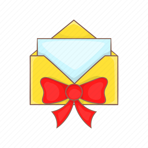 bow, cartoon, envelope, gift, red, ribbon, style icon