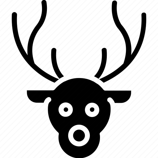 animal face, christmas reindeer, deer, elk, reindeer face icon
