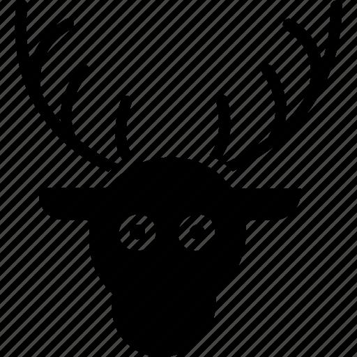 animal face, christmas reindeer, deer, elk, reindeer face icon