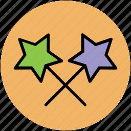 fairy wand, magic stick, magic wand, magical stick, magical wand, wizard wand icon