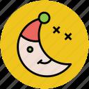 christmas night, crescent, moon, night, sky, weather, winter night icon