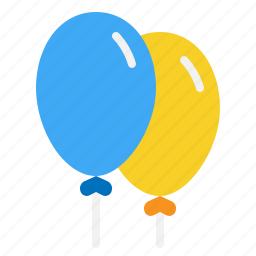 air, balloons, festive, flying, party icon