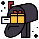 christmas, gift, mailbox, post icon