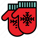 christmas, mittens, snowflake, warm icon