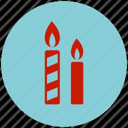 candle, celebration, decoration, flame icon