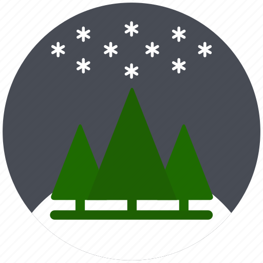 christmas, cold, pine, sky, snowflake, winter icon