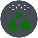 christmas trees, pine, sky, snowflake, tree, winter, xmas icon