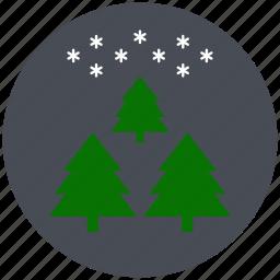 christmas trees, pine, sky, snowflake, tree, winter, xmas icon