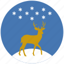christmas, reindeer, deer, snow, snowflake, winter, xmas