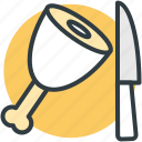chicken piece, food, knife, leg piece, thigh meat icon