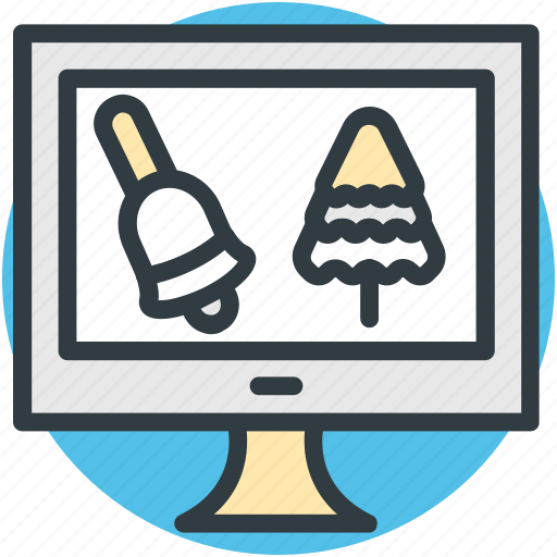 christmas shopping, ecommerce, monitor, online shopping, online store icon