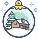 chrismas, home, house snow globe, snow globe, winter, xmas