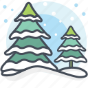 alpine, christmas tree, decoration, pine trees, snowing, xmas