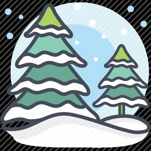 alpine, christmas tree, decoration, pine trees, snowing, xmas icon
