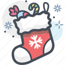 christmas, christmas sock, gift, sock, winter, winterwear icon