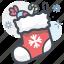 christmas, christmas sock, gift, sock, winter, winterwear icon