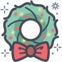 bow, christmas, christmas wreath, festive, wreath, xmas icon