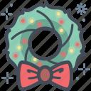 festive, wreath, christmas, christmas wreath, bow, xmas