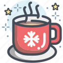 decorated mug, drink, gift, hot beverage, mug, snowflake icon