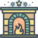 christmas, fireplace, holiday, snow, warm, winter, xmas icon