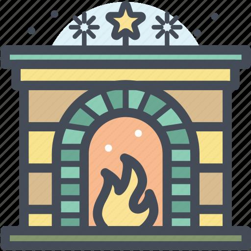 christmas, fireplace, holiday, snow, warm, winter, xmas icon