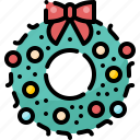 christmas, decoration, ornament, ribbon, winter, wreath, xmas