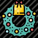 bell, christmas, decoration, ornament, winter, wreath, xmas