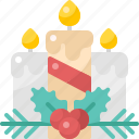 candle, christmas, decoration, light, ornament, three, winter
