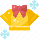 alarm, bell, christmas, decoration, ribbon, snowflake, winter icon