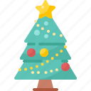 christmas, decoration, tree, pine, star, winter, xmas