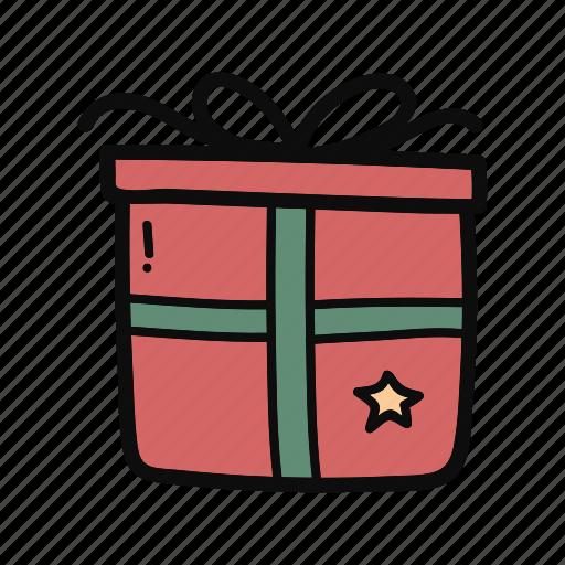 box, christmas, doodle, gift, handdrawn, present icon