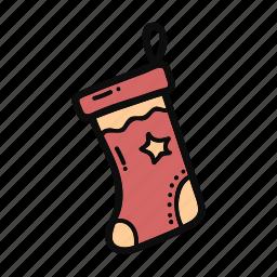 christmas, decoration, doodle, gift, handdrawn, socks, star icon