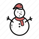 christmas, doodle, handdrawn, snow, snowman icon