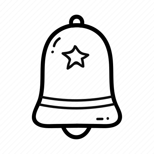 alarm, bell, christmas, decoration, doodle, handdrawn, star icon