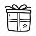 box, christmas, doodle, gift, handdrawn, present, star icon