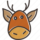 rudolph, new year, claus, deer, santa, rein, christmas icon