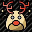 animal, animals, christmas, deer, mammal, nature, reindeer, smile, smiley, winter icon