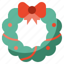 adornment, bow, christmas, decoration, instrument, music, ornament, wreath icon