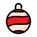 christmas, decoration, gift, ornament, red, winter icon