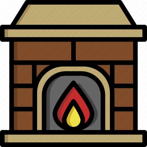 chimney, christmas, fireplace, home, house, warm, winter icon