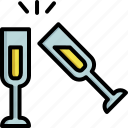 alcohol, celebration, champagne, christmas, drink, glass, party icon